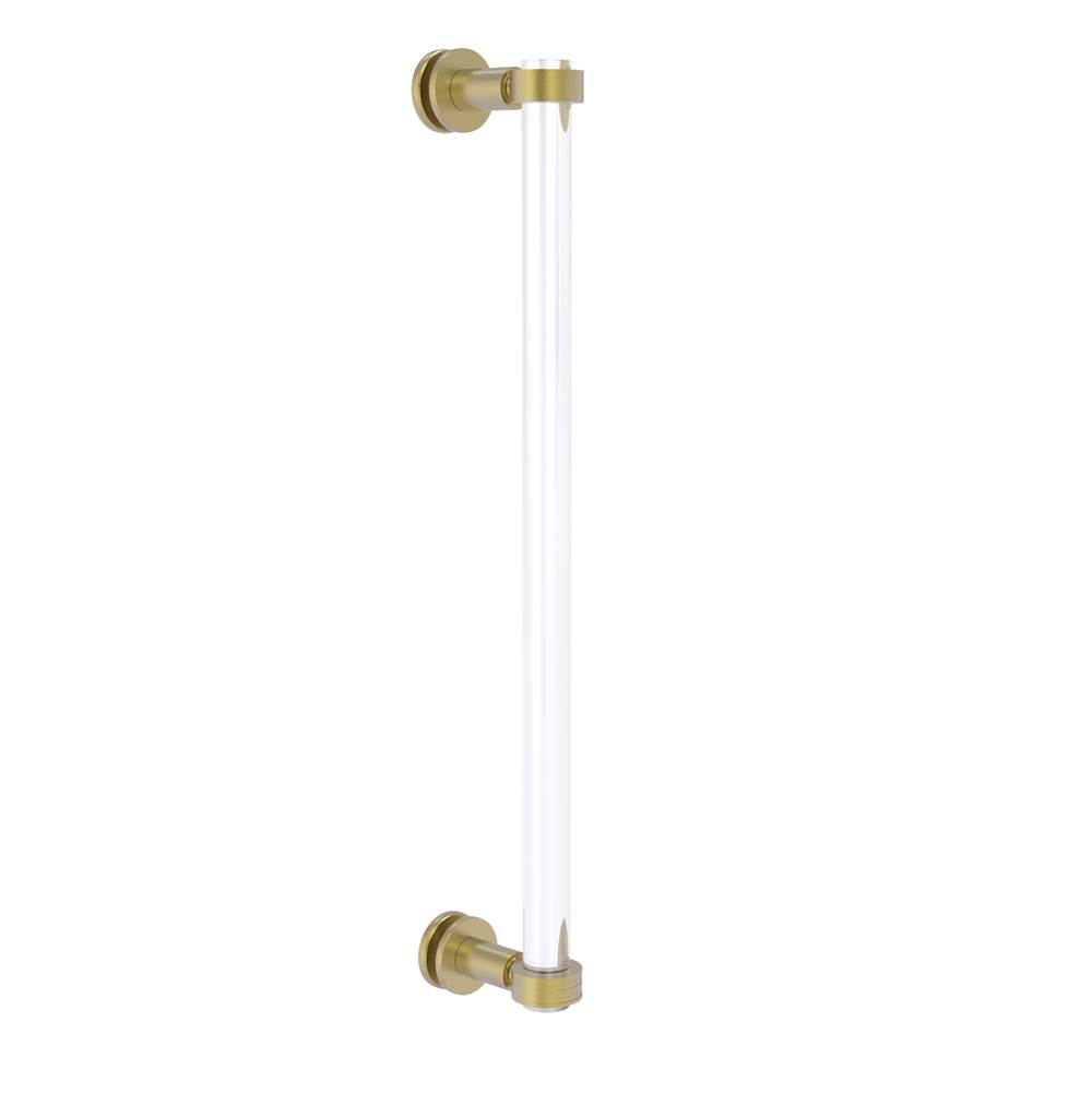 Satin Brass Allied Brass CV-406G-18BB-SBR Clearview Collection 18 Inch Back Shower Door Pull with Groovy Accents