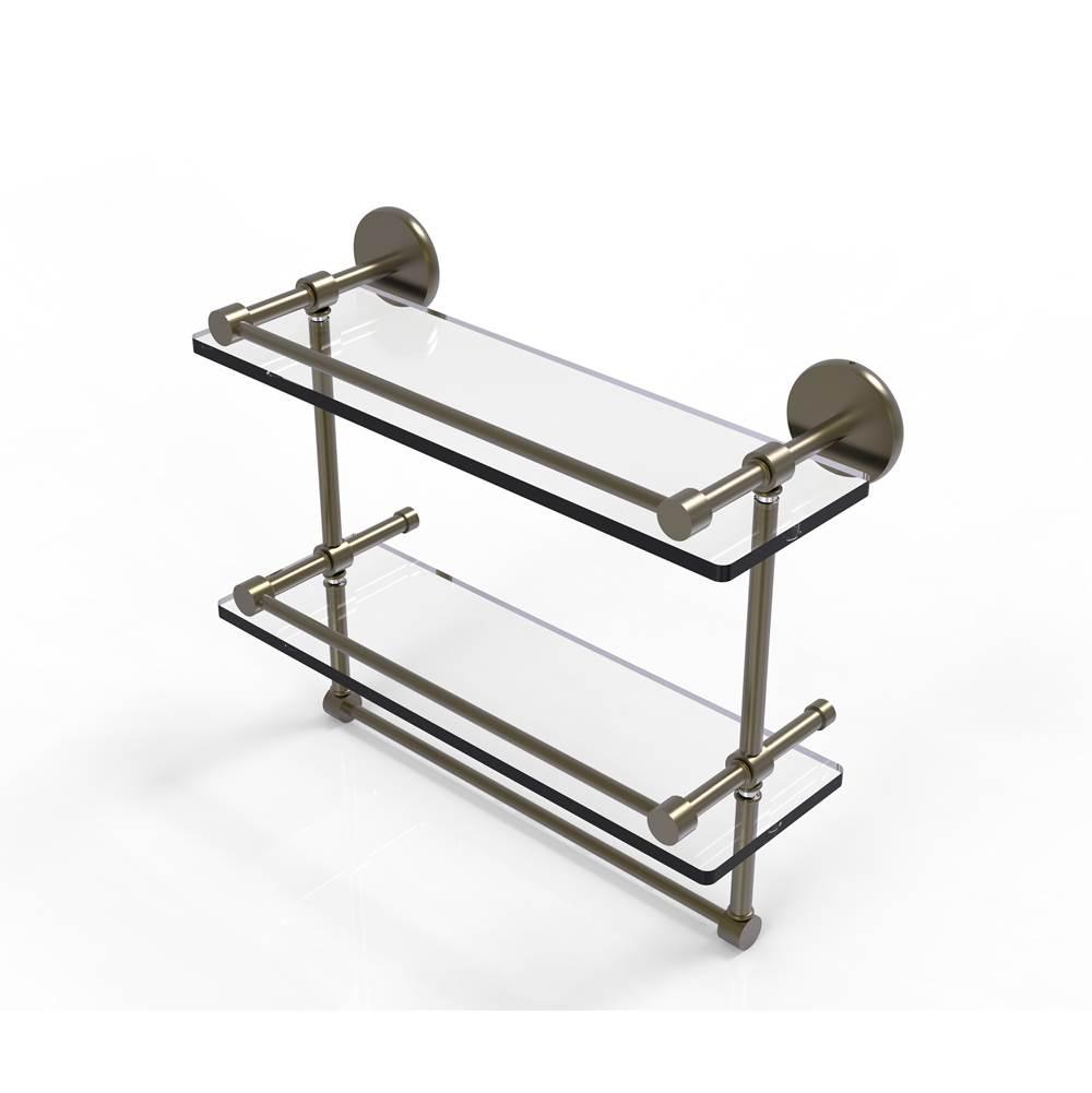 Allied Brass P1000-2TB//22-GAL-PC 22 Inch Gallery Double Glass Shelf with Towel Bar Polished Chrome
