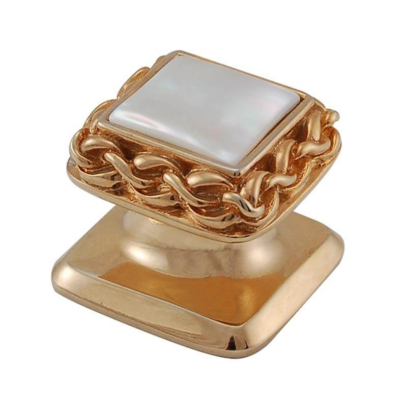 Polished Gold Black Onyx Small Vicenza Designs K1152 Gioiello  Square  Stone Insert  Style 6  Knob