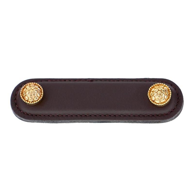 Brown Vicenza Designs K1182 Tiziano Square Leather Pull Antique Copper 3-Inch