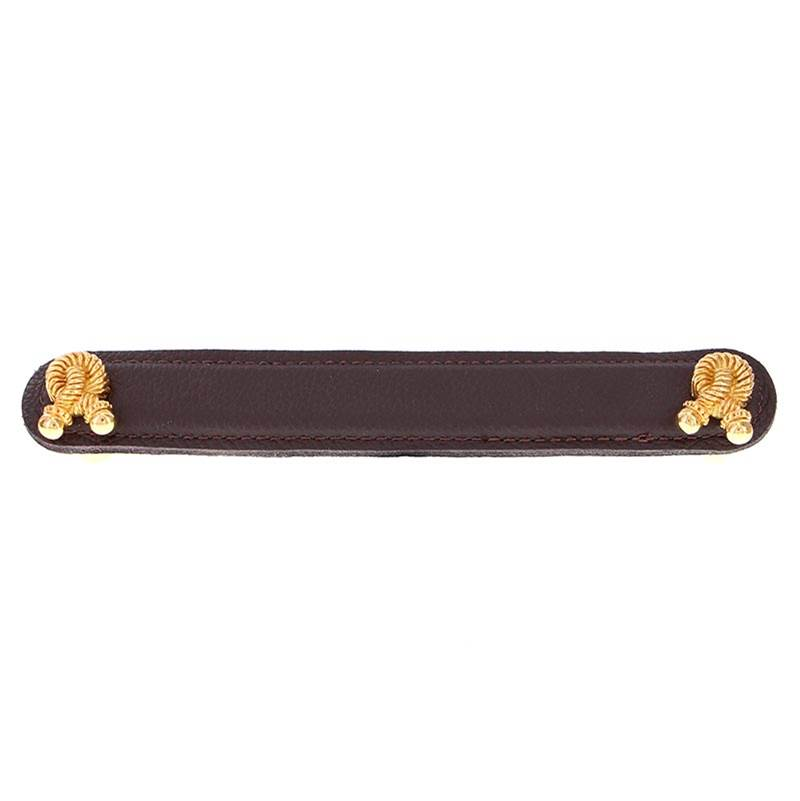 Vicenza Designs K1178 Equestre Rope Leather Pull 6-Inch Antique Gold Brown